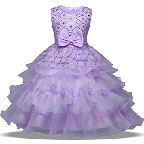 ❤️Kobay Blumen-Baby-Mädchen-Prinzessin Bridesmaid Festzug-Kleid-Geburtstags-Party-Hochzeits-Kleid (140/6Jahr, Lila)