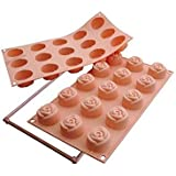 Silikomart Silicone Fancy and Function Bakeware Collection Multi Cake Pan, Rose, Small