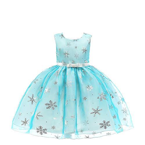 QSEFT Fancy Prinzessin Kleider Für Hochzeit Halloween Party Kostüm Kinder Party Geburtstag Kleid Mädchen Urlaub Schneeflocke Kleidung 3-10 Jahre Alt,Blue,150