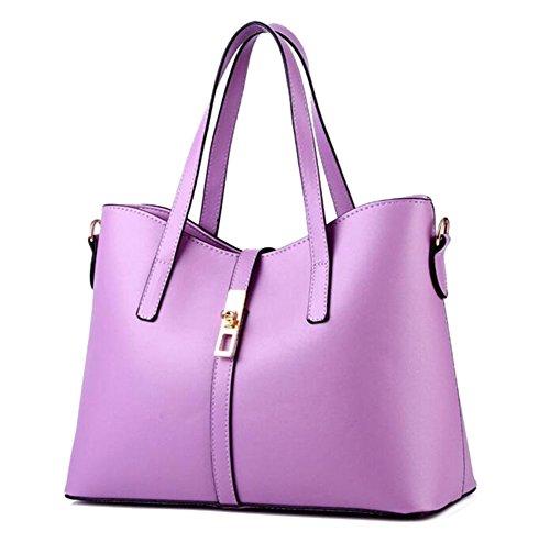 Baymate Weibliche Models Mode Schulter Handtaschen Messenger Bag PU-Leder Schultertasche Licht Violett