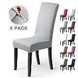 Fundas para sillas Pack de 6 Fundas sillas Comedor Fundas elásticas, Cubiertas para sillas,bielástico Extraíble Funda, Muy fácil de Limpiar, Duradera (Paquete de 6, Gris-Plateado)
