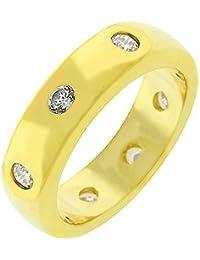 Eleganter Ring mit Zirkonia Diamanten, 14 Karat Gold Vermeil