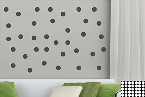 kleb-drauf® - 35 Punkte / Grau - matt - Aufkleber zur Dekoration von Wänden, Glas, Fliesen und allen anderen glatten Oberflächen im Innenbereich; aus 19 Farben wählbar; in matt oder glänzend (Glas-wand-dekorationen)