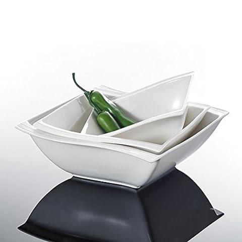 Malacasa, Serie Flora, 3 Teiligen Set Cremeweiß Porzellan 10&8,5&7 Zoll Schüssel Salatschüssel Müslischale Schale Schälchen