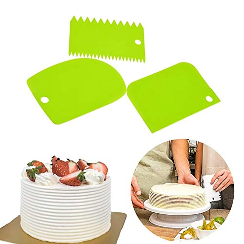Grizzly 3pcs Set Plastic Dough Bench Scraper Cake Cutter Chopper Smoother Icing Fondant Cake Decorating Pastry Baking Tool Color May Vary