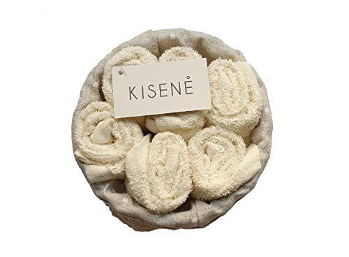 Kisene' set spugna lavette 5 oppure 6 asciugamano viso cm 30x30 con cestino in vimini - idea regalo (cestino tondo da 6 pezzi, ecru)