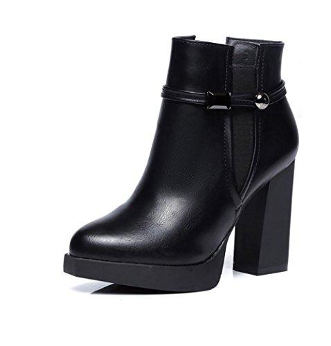 Donna tronchetti neri o cuoio donna tacchi alti stivali chelsea calzature female moda , eu37/uk4.5-5
