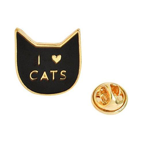 Broschen für Frauen Kleidung Dekoration Schmuck Kreative nette Katze Brosche Button Abzeichen Kostüm Zubehör (schwarze Farbe) (Katze In Den Hut-partei-zubehör)