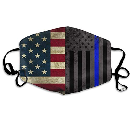 Daawqee Staubschutzmasken, American Thin Blue Line Flag Face Masks Breathable Dust Filter Masks Mouth Cover Masks with Elastic Ear Loop