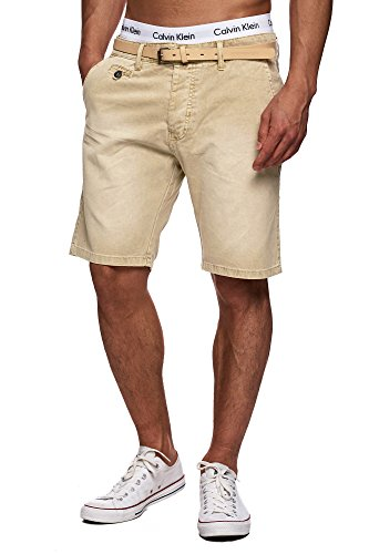MAKI Herren 5-Pocket Chino Shorts mit Gürtel Vintage Kurze Hose Washed Bermuda Sommerhose Beige XL