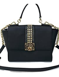 524f8aa131d2 Michael Kors Tina Medium Studded Leather Chain Satchel Crossbody Bag Purse  Black