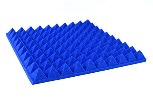 Preisvergleich Produktbild 4Stück 500mm x 500mm FIRE feuerfest B1blau Pyramide Akustik Schaumstoff-Paneele Spike Studio Isolierung