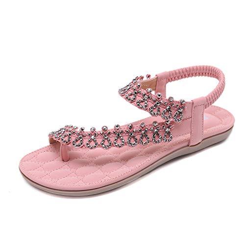HAINE Frauen Boho Strass Flache Strand Schuhe Sommer Sandalen (Rosa 38EU)
