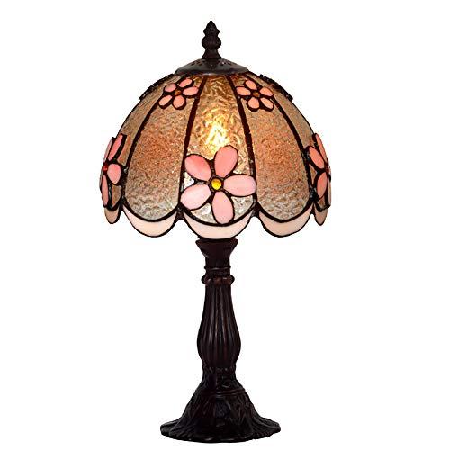 WWLONG Tiffany-Stil Tischlampe, dreidimensionale Blume rosa 8-Zoll-Art-Deco-Tischlampe, Farbe handgebranntem Glas Lampenschirm, Legierung Basis-Black