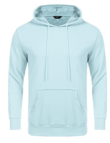 Coofandy Kapuzenpulli Herren Hoodie Kapuzenpullover Schwarz Kapuzen-Sweatshirt mit Kängurutasche 8 Farben Hellblau