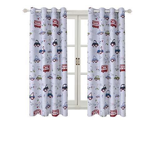 Tende con occhielli motivo stampato auto tenda isolate termicamente camera bambini due pannelli decorativi finestra per casa (2 x 117 x 137cm(l×a),car)