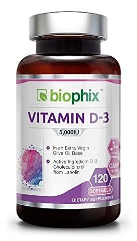 Vitamin D3 5000 IU 120 Softgels - Olive Oil Strong Bones Immune Health Support for K-2
