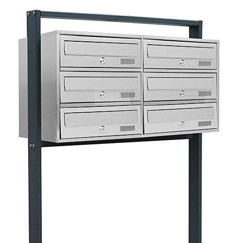 BITUXX® Design Edelstahl Doppel Stand-Briefkastenanlage Postkasten Letterbox Mailbox mit 6 Fächer und Dunkelgrauen Standrohren