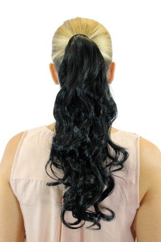 WIG ME UP Haarteil Zopf Pferdeschwanz neues System mit Steckkamm Haarreif Haarband Schwarz gewellt leicht lockig 45 cm ROSY-1