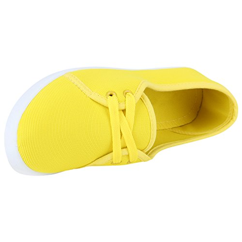 Sportliche Damen Ballerinas Stoffschuhe Slipper Schuhe Gelb Weiss