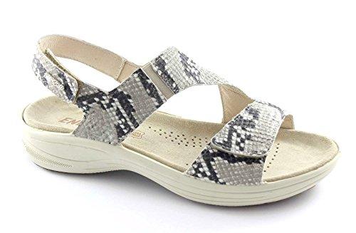 ENVAL SOFT 59570 grigio sandali donna cinturino fibbie pelle pitonata Grigio