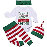 uBabamama Christmas Sale!!! 3Pcs My First Christmas Clothes Set Letter Printed Romper Tops Stripe Pant +Hat Hairband Outfits Pajamas uBabamama(White,Recommended Age:12-18 Months/90)