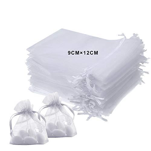 25fcf9221 LURICO 9x12cm Bolsitas de Tela para Regalos, 100 Piezas Blanco Bolsas de  Organza de Regalo para Boda Favores y Joyas