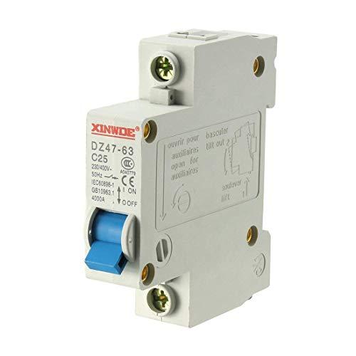Din Mount Circuit Breaker (ZCHXD 1 Pole 25A 230/400V Low-voltage Miniature Circuit Breaker Din Rail Mount DZ47-63 C25)