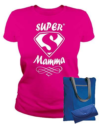 MAM0011 T-Shirt Maglietta Donna Super Mamma 3 Idea Regalo Festa della Mamma (XL, Fuxia)