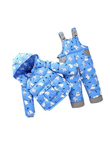 zhbotaolang Kind Daunenjacke Kleinkind Bib Pant - Kids 2 Teilige Winter Schneeanzug Langärmel Oberbekleidung Unisex Niedlichen Hoodie Jumpsuit (100cm Blau)