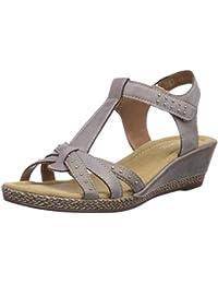 Rieker Kinder K3368 Mädchen T-Spangen Sandalen mit Keilabsatz