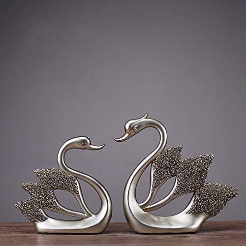 DAMAI STORE Kunst Resin Handwerk Großhandel Kreative Heimat Stieg Diamant-Schmuck Swan Hotel Heiratet Dekoratives Geschenk (36 * 20,5 * 4,5 cm) Schmücken