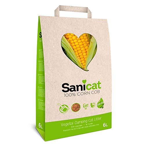 SANICAT Corn COB Lettiera per Gatti Agglomerante e Vegetale - 6L