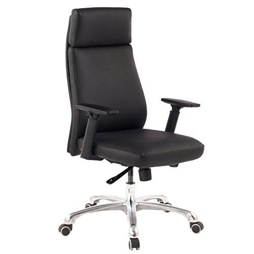 Amstyle Design Porto Bürostuhl aus Echtleder, Chefsessel mit Synchronmechanik, Drehstuhl mit Kopfstütze, XXL Schreibtischstuhl mit Armlehnen, schwarz