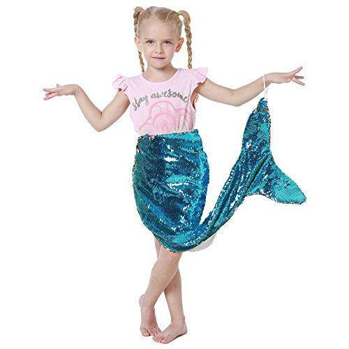 Schwanz Decke für Mädchen Flip Pailletten Glitter Meerjungfrau Fishtail Decken Wohnzimmer Schlafzimmer Sofa Schlafsäcke (93x60cm) (Gruppe 3 Kostüm Ideen)