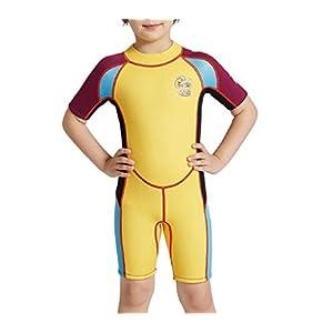 Perfezionare giocare Costumi da bagno per bambini a manica corta per bambini Costumi per bambini a frangisole per sport acquatici (giallo)