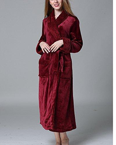 Calda Vestaglia da Donna Uomo con Cintura e Tasche Vestiti Sauna Super Soft Accappatoio Bodeaux