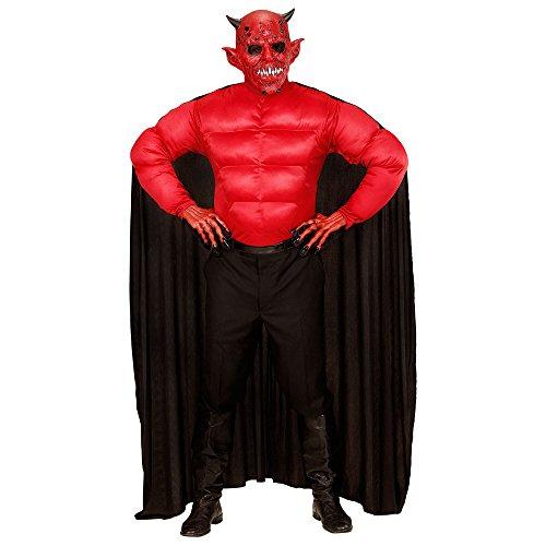 Widmann 00634 - Erwachsenenkostüm Teufel, Muskelshirt mit Umhang, Größe XL, schwarz (Herr Finsternis-kostüm Der)