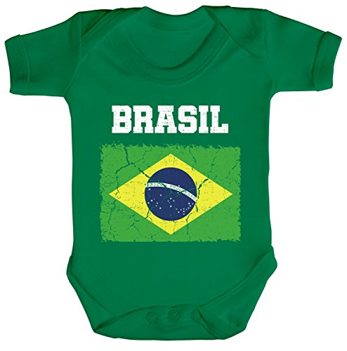 ShirtStreet Brazil Brasilien Fußball WM Fanfest Gruppen Fan Strampler Bio Baumwoll Baby Body kurzarm Jungen Mädchen Wappen Brasil, Größe: 3-6 Monate,Kelly Green -