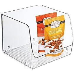 InterDesign Linus boite de rangement empilable pour le frigidaire, bac plastique extra large pour aliments ou accessoires de cuisine, transparent