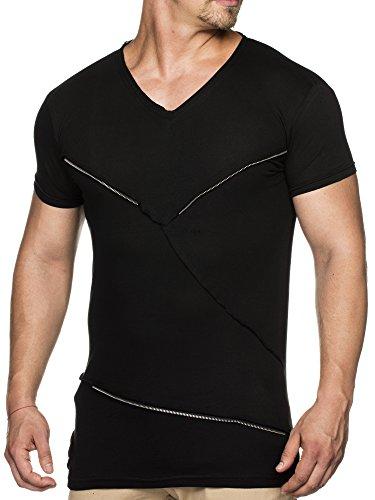 TAZZIO Herren V-Kragen T-Shirt T-05 Schwarz