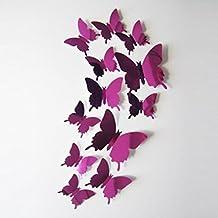 FAMILIZO 12Pcs Engomadas De La Pared Decal Mariposas DecoracióN De La Pared Del Espejo 3D En Casa Las Decoración (Rosa caliente)