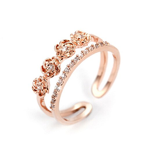 Boowohl Damen-Ring Partnerringe Hochzeitringe Ehering 925 Sterling Silber Diamant Hypoallergen Ringe Vier Rosen Blume Doppel-Ring Fingerring Eröffnungringe (Rose Gold) (Rose Gold-diamant-blumen-ring)