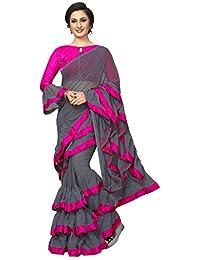 fdbe4b022b4e94 AnK Women s New latest Trend ruffle Pattern Saree With Blouse Piece