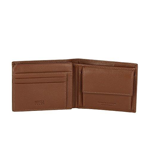 Portefeuille pour homme en cuir avec porte-monnaie et poche pour les billets Nuvola Pelle Brun foncé