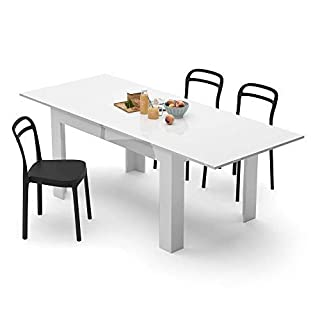 Mobilifiver Table Extensible Cuisine, Easy, Blanc Brillant, 140 x 90 x 77 cm, Mélaminé, Made in Italy