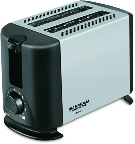 Maharaja Whiteline Excelo Pop Up 600-watt Pop Up Toaster (metallic Black And Silver)