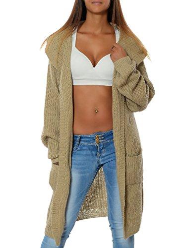 Damen Cardigan Strickjacke Mantel Langarm Pullover (weitere Farben) 15729, Farbe:Beige, Größe:One (In Zopf Zopf)