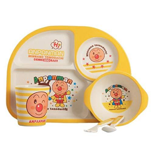 OUTANG Kleinkind Platten Baby Tischset Fütterung Futternapf Löffel Quilt Set Melamin Divided Bambusfaser BPA frei für Entwöhnung Teller Quilt