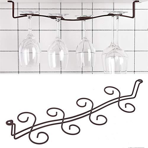 Weinregal aus Metall 8 Glashalter Stemware hängend unter Kabinett 46X5.5X14.5Cm Geschirrspüler Bracket Weinglas Bar-Küche-Werkzeug-Liebhaber-Geschenke,Schwarz